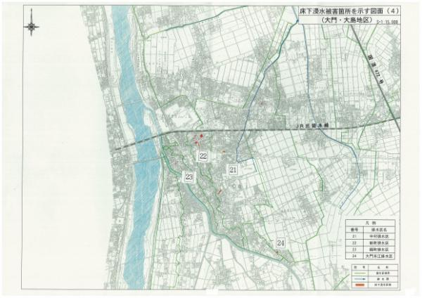 浸水被害箇所(大門・大島)