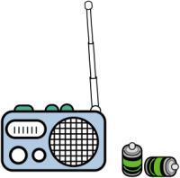 携帯ラジオと予備の電池