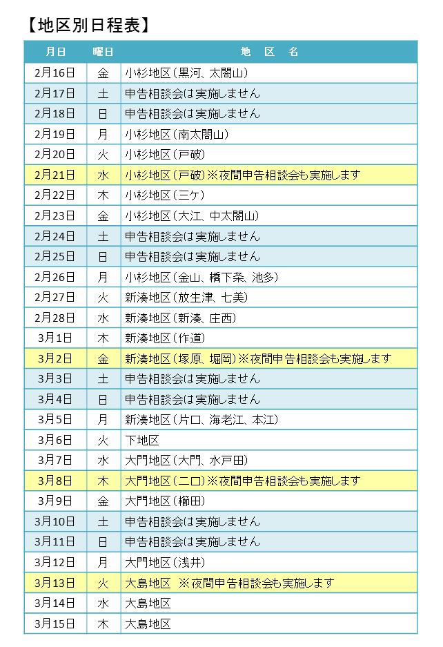 地区別日程表