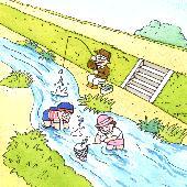 きれいな川で子どもたちが魚釣りをしている画像.PNG