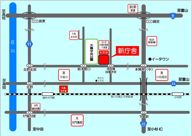 本庁舎位置図